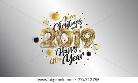 Christmas. Merry Christmas And Happy New Year 2019. Vector Concept For Background, Greeting Card, We