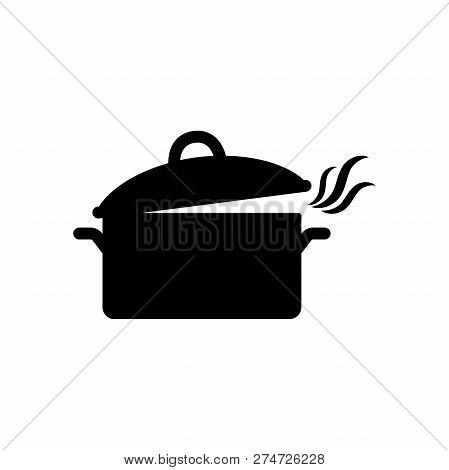 Black Isolated Casserole Pot With Smoke Vector Icon. Smoking Kitchen Saucepan Pot Silhouette Icon.