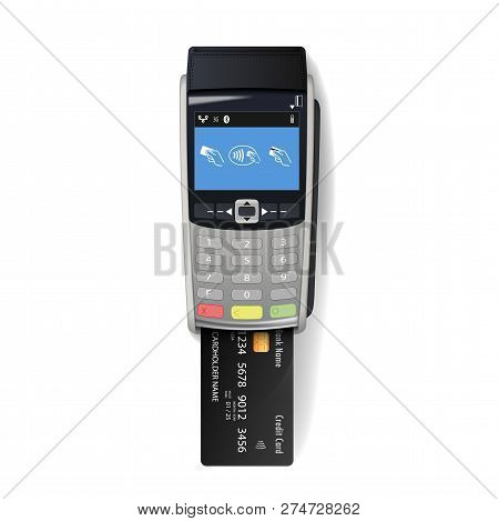Vector Realistic Silver 3d Payment Machine. Pos Terminal With Credit Card Closeup Isolated On White