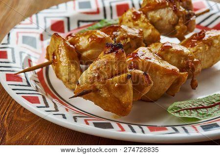 Chicken Teriyaki Kabobs  Close Up Meal Skewers