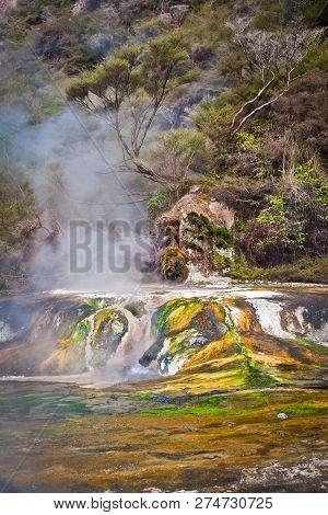 Colorful Little Travertin Terrace In Waimangu Valley In New Zealand