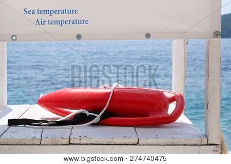 Outfit Of Lifeguard On Sea In Summer. Rescue On Water In Summer Concept.