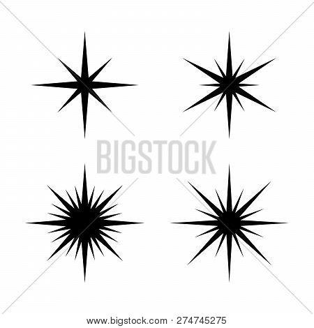 Set Of Sparkles Star, Sparkles Star Isolated Vector. Sparkle Light. Sparkling Stars. Sparkles Black