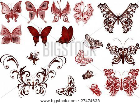 illustration with painted butterflies on white background