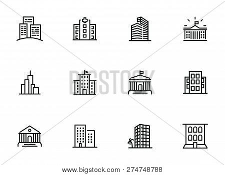 Buildings Line Icon Set. Bank, School, Courthouse, University, Library. Architecture Concept. Can Be