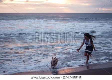 Young Woman Playing During Beach Vacation With Dogs In The Ocean. Happy Girl Cathing A Dog To A Suns