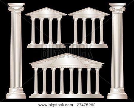 Una ilustración del vector de un estilo clásico blanco templos de mármol y pilares. Aislado en backg negro