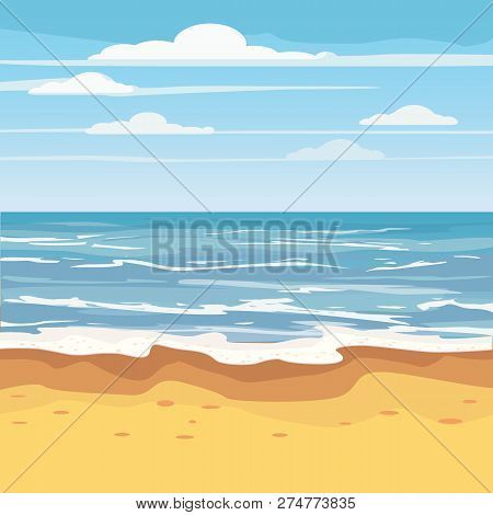 Seascape Tropical Beach Travel Holiday Vacation Leisure Nature Concept, Ocean, Sea, Shore, Vector Il