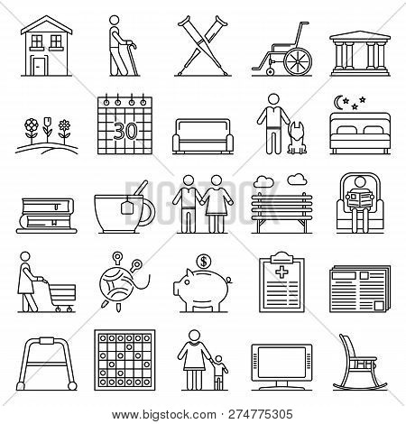 Pension Icon Set. Outline Set Of Pension Vector Icons For Web Design Isolated On White Background
