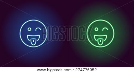 Neon Illustration Of Teasing Emoji. Vector Icon Of Cartoon Teasing Emoji With Tongue And Squinting F