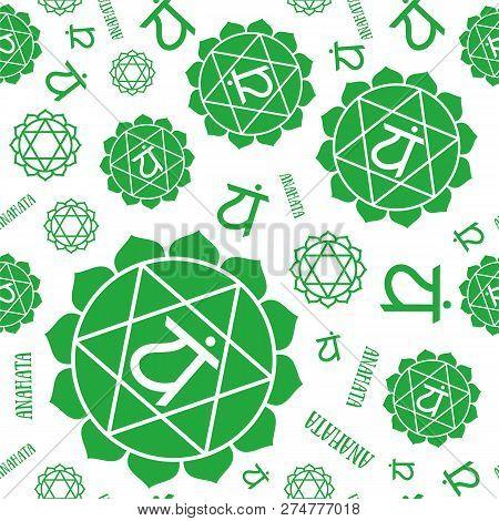 Anahata Chakras Seamless Pattern. Vector Esoteric Background. Hinduism, Buddhism. Line Symbol