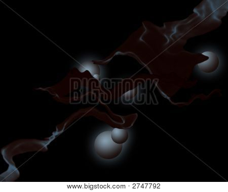 An abstract design incorporating smoke and spheres. poster