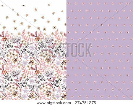 Set Of Two Horizontal Seamless Floral Pattern With Paisley And Fantasy Flowers Border. Hand Drawn Te