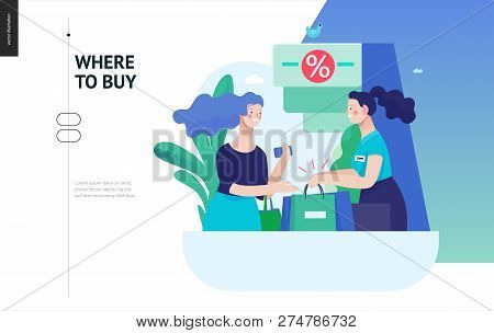 Business Series, Color 3 - Where To Buy - Modern Flat Vector Illustration Concept Of A Customer And