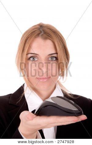 Businesswoman Show Computer Mouse