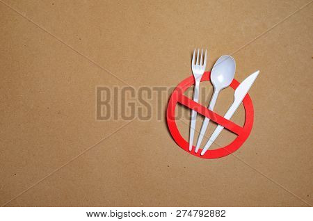 No Plastic Cutlery, Plastic Pollution Concept, Top View