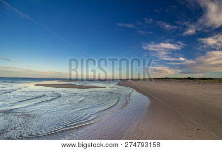 Beach And Sea In Early Evening. Nairn Beach, Scotland.