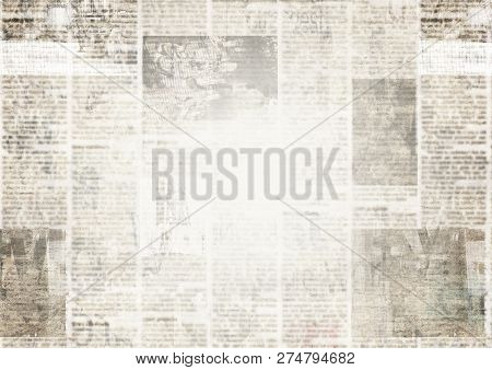 Newspaper With Old Unreadable Text. Vintage Grunge Blurred Paper News Texture Horizontal Background.