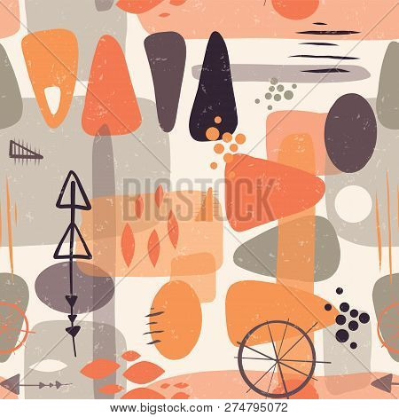 Seamless Abstract Mid Century Shapes Vector Background. 1950s Print. Retro Inspired Shapes Squares,