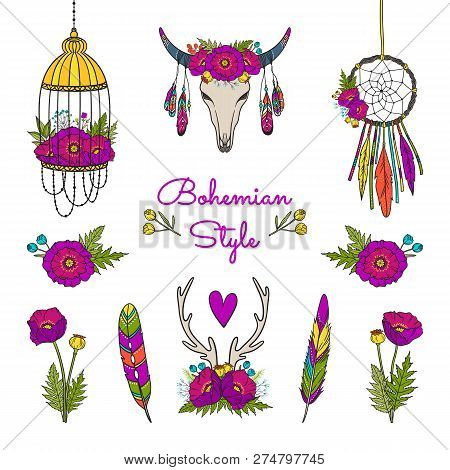 Vector Collection Of Boho Elements. Set Included: Decorated Cow Skull, Dream Catcher, Bird Cage, Hor