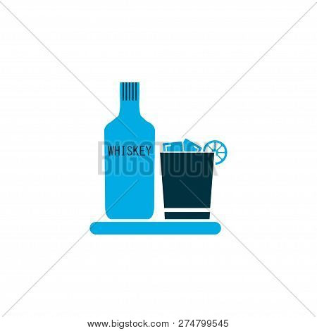 Liqueur Icon Colored Symbol. Premium Quality Isolated Whiskey With Ice Element In Trendy Style.