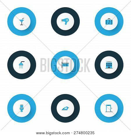 Hotel Icons Colored Set With Hotel, Hotel Sign, Elevator And Other Lift Elements. Isolated  Illustra