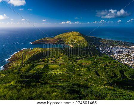 Hanauma bay and hilly terrain of the island of Oahu, view from Koko Head crater, Hawaii