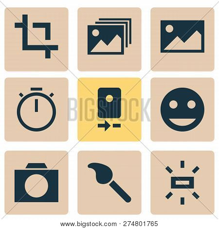 Picture Icons Set With Photographing, Tag Face, Wb Sunny And Other Smile Elements. Isolated  Illustr