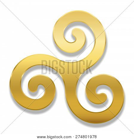 Golden Celtic Spiral Triskele On White Background. Triskelion. A Motif Consisting Of A Triple Spiral