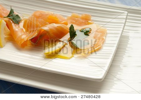 smoked salmon marinated on olive oil and lemon