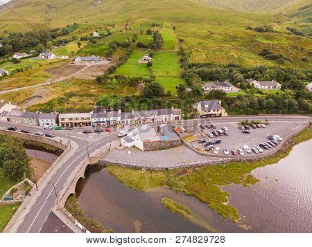 Leenaun, Ireland - July 27, 2018: An Aerial View Of Leenaun, Also Leenane, A Village In Northern Cou