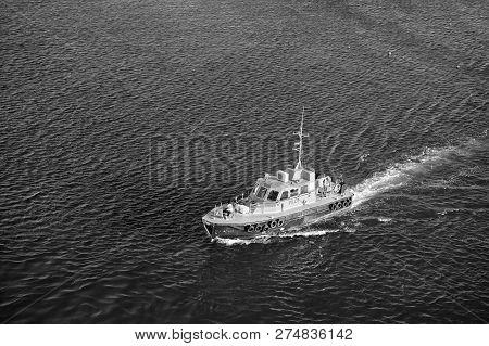 Bridgetown, Barbados - December 12, 2015: Pilot Rescue Boat Float In Blue Sea. Maritime Pilots Trans