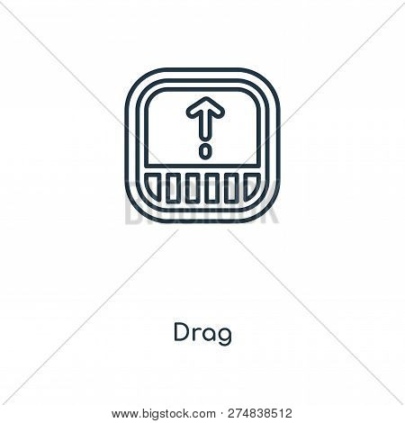 Drag Icon In Trendy Design Style. Drag Icon Isolated On White Background. Drag Vector Icon Simple An