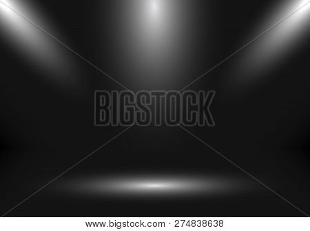 3d Empty Studio Room Show Booth For Designers With Spotlight On Black Gradient Background. Display Y