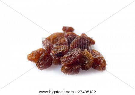 dried grapes isolated on white