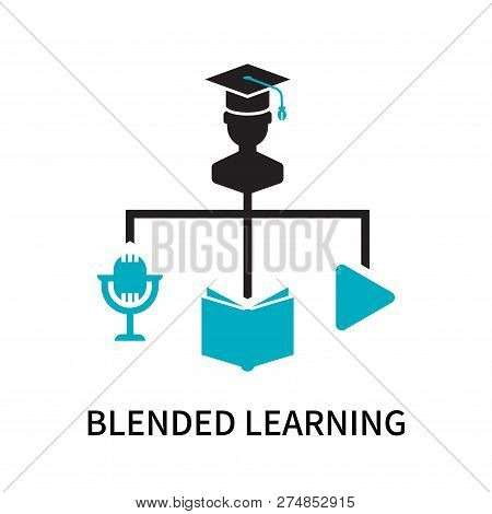 Blended Learning Icon Isolated On White Background. Blended Learning Icon Simple Sign. Blended Learn