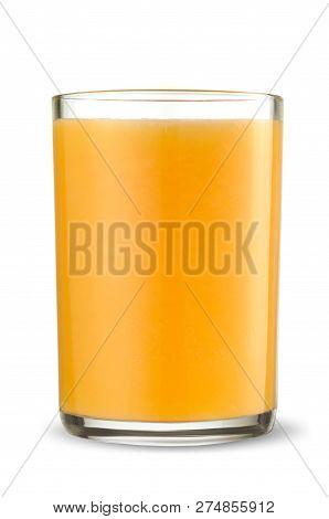 Glass Of Fresh Orange Juice Isolated On White Background.