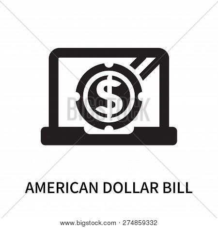 American Dollar Bill Icon Isolated On White Background. American Dollar Bill Icon Simple Sign. Ameri