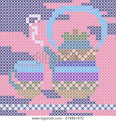 Handmade Napkin With Kettle And Teacup. Cross-stitch Pattern. Pillowcase, Greeting Card. Vector Temp