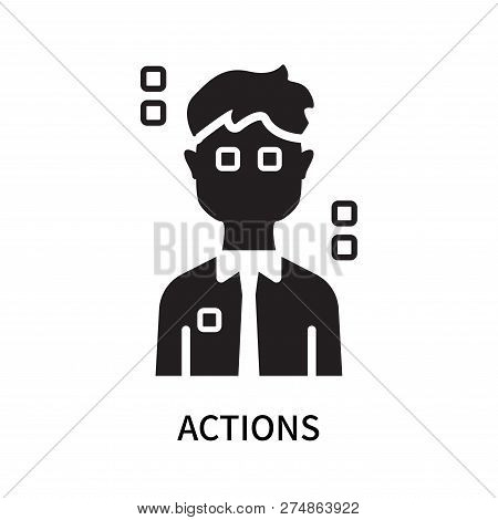 Actions Icon Isolated On White Background. Actions Icon Simple Sign. Actions Icon Trendy And Modern