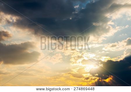 Gorgeous Sunlight Through Clouds. Lovely Nature Background