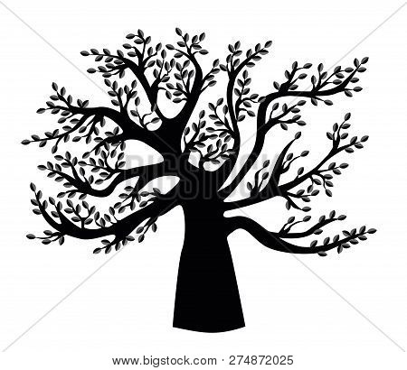 Black Family Tree Template. Vector Illustration. Genealogical Tree.
