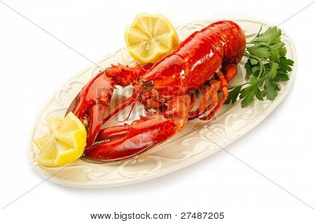 boiled lobster on dish