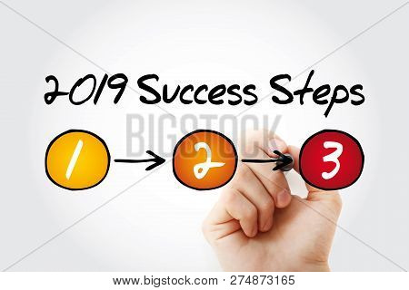 2019 Success Steps Business Concept With Marker, Presentation Background