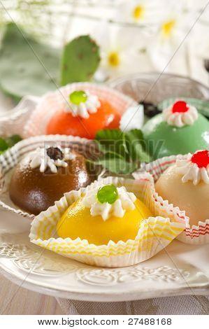 variety of cassate sicily dessert poster