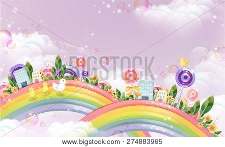 Fantastic skyscrapers of beautiful rainbow
