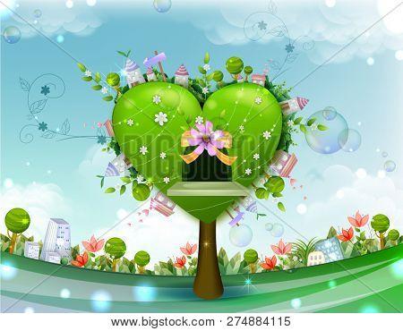 Green Tree with Heart Shape