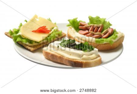 Three sandwich with cheese sausage and bryndza poster