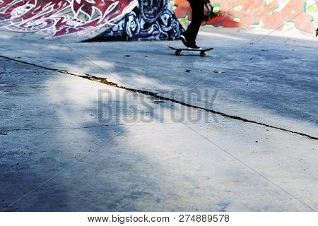 Tbilisi, Georgia - November 28 2018, Deda Ena Skate Park. Young Skateboarder Skating Inside Of Moder