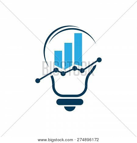 Business Abstract Logo Symbol. Statistics With Bulb Icon Logo Concept Illustration. Vertical Shapes